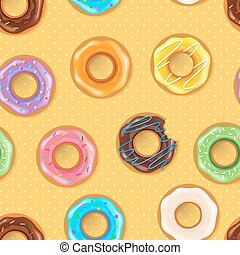 donuts, seamless, colorito, modello