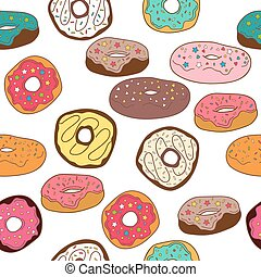 Donuts seamless pattern background