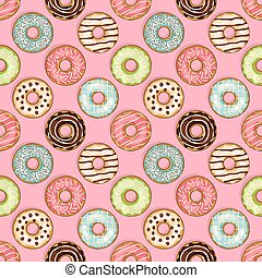 donuts seamless pattern on pink background