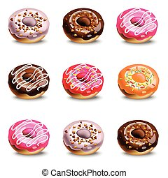 Donuts set collection on a white background. Vector realistic dessert. Colorful delicious treats