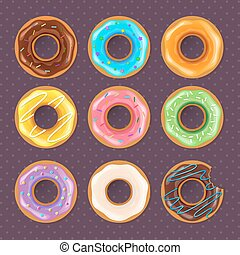 donuts, set, colorito, dolce