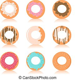 donuts, set, colorito
