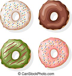 Donuts set. Isolated on white. Vector illustration.