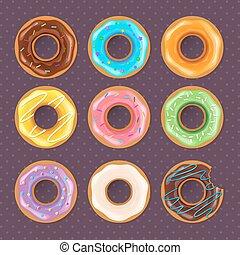 donuts, set, kleurrijke, zoet