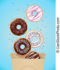 Donuts. Set of american sweets desserts in paper package.