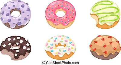donuts, set., wektor