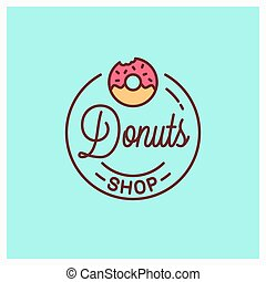 Donuts shop logo. Round linear of donut bakery