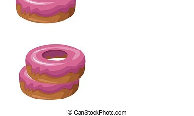 Donuts stacked and rolling HD animation - Donuts stacked and...