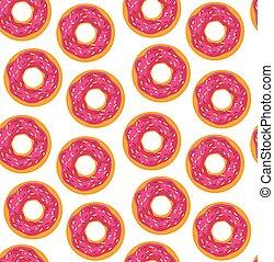 donuts, stootkussens, seamless, achtergrond, gebakje