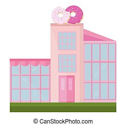 Donuts store facade building Vector illustration