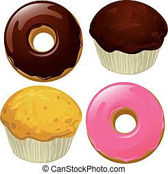 donuts, und, muffins, freigestellt, auf, a, weißer...