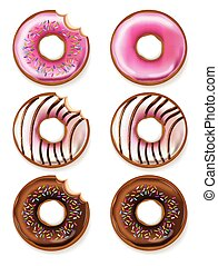 Donuts Vector realistic. 3d detailed desserts illustrations