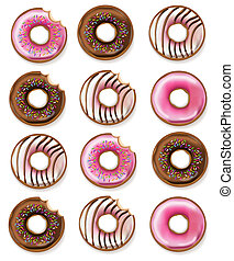 Donuts Vector realistic. 3d detailed desserts illustrations...