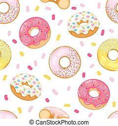 Donuts vector seamless pattern - Cute sweet colorful donut...