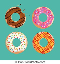 donuts vector set isolated on green background graphic