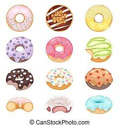 donuts, vektor, set.