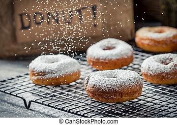 donuts, verfraaide, met, poeder, suiker