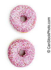 donuts, vrijstaand, in, achtergrond, witte