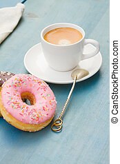 donuts with black  espresso coffee