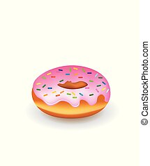 Donuts with sprinkles, vector