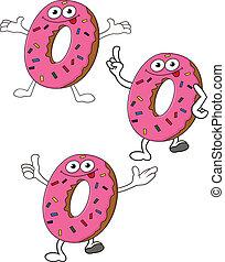 donuts, zeichen, karikatur