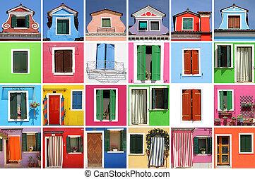 doo, images, coloré, maison, résumé, fenetres, beaucoup, fait