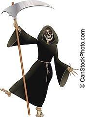 dood, in, black , mantel, met, zeis, dancing, feestje, halloween