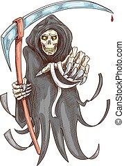 dood, maaimachine, met, scythe., halloween, symbool