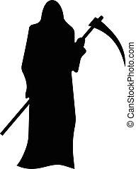 dood, met, een, zeis, silhouette