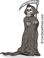 dood, skelet, illustratie, spotprent