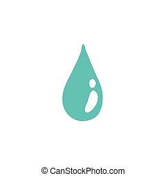 doodle, água, ícone, ilustração, cor, gota, vetorial