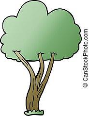 doodle, árvore, caricatura, florescer