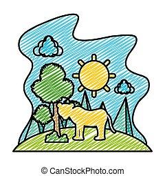 doodle, árvore, leão, femininas, sol, paisagem