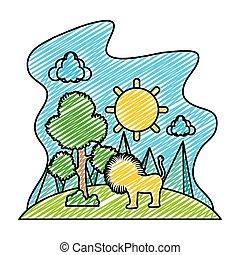 doodle, árvore, leão, sol, macho, paisagem