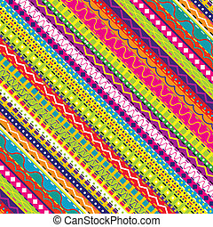 doodle, étnico, experiência colorida, seamless