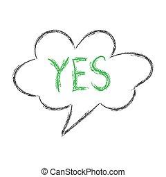doodle., λόγοs , δραμάτιο , σύνεφο , άσπρο , λέξη , φόντο , απομονωμένος , yes., ρυθμός , μολύβι