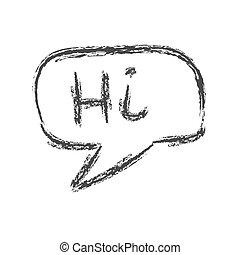 doodle., λόγοs , δραμάτιο , σύνεφο , άσπρο , λέξη , hi., φόντο , απομονωμένος , ρυθμός , μολύβι