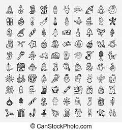 doodle, 100, jogo, natal, ícone