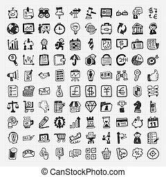 doodle, 100, negócio, ícone