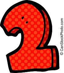 doodle, 2, rysunek, liczba
