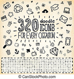 doodle, 320, universal, ícones