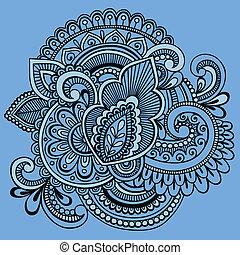 doodle, abstract, vector, henna, sierlijk