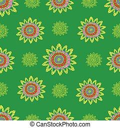 doodle, abstratos, pattern., seamless, étnico, flores