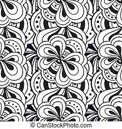 doodle, abstratos, seamless, mão, vetorial, pretas, padrão, desenhado, branca