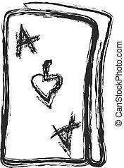 doodle ace of spades, vector illustration