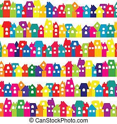 doodle, achtergrond kleurde, huisen