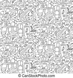 doodle, aeroporto, seamless, padrão