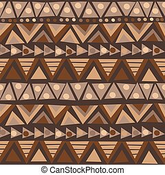 Doodle african pattern with geometric motifs