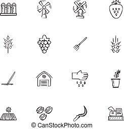 doodle, agricultura, jogo, ícones