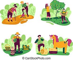doodle, agricultura, jogo, compositions